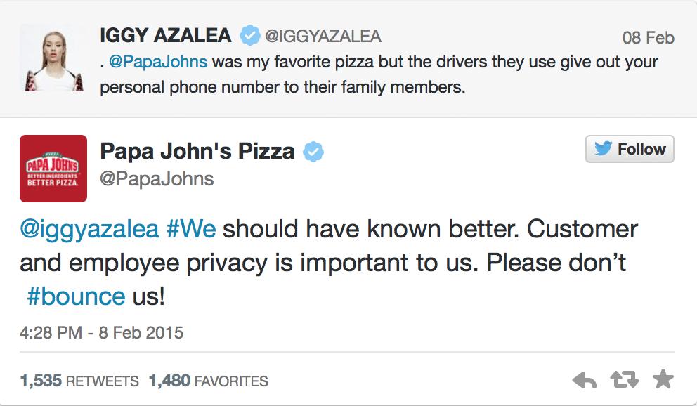 Iggy Azalea, Papa Johns, Angry Tweet