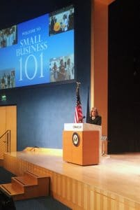 Congresswoman Speier opening the Small Business 101 Seminar