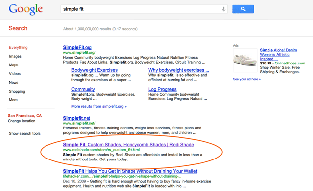 Simple Fit Google Ranking