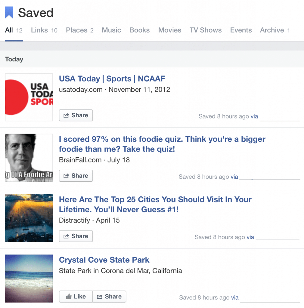 Example Facebook Save Page